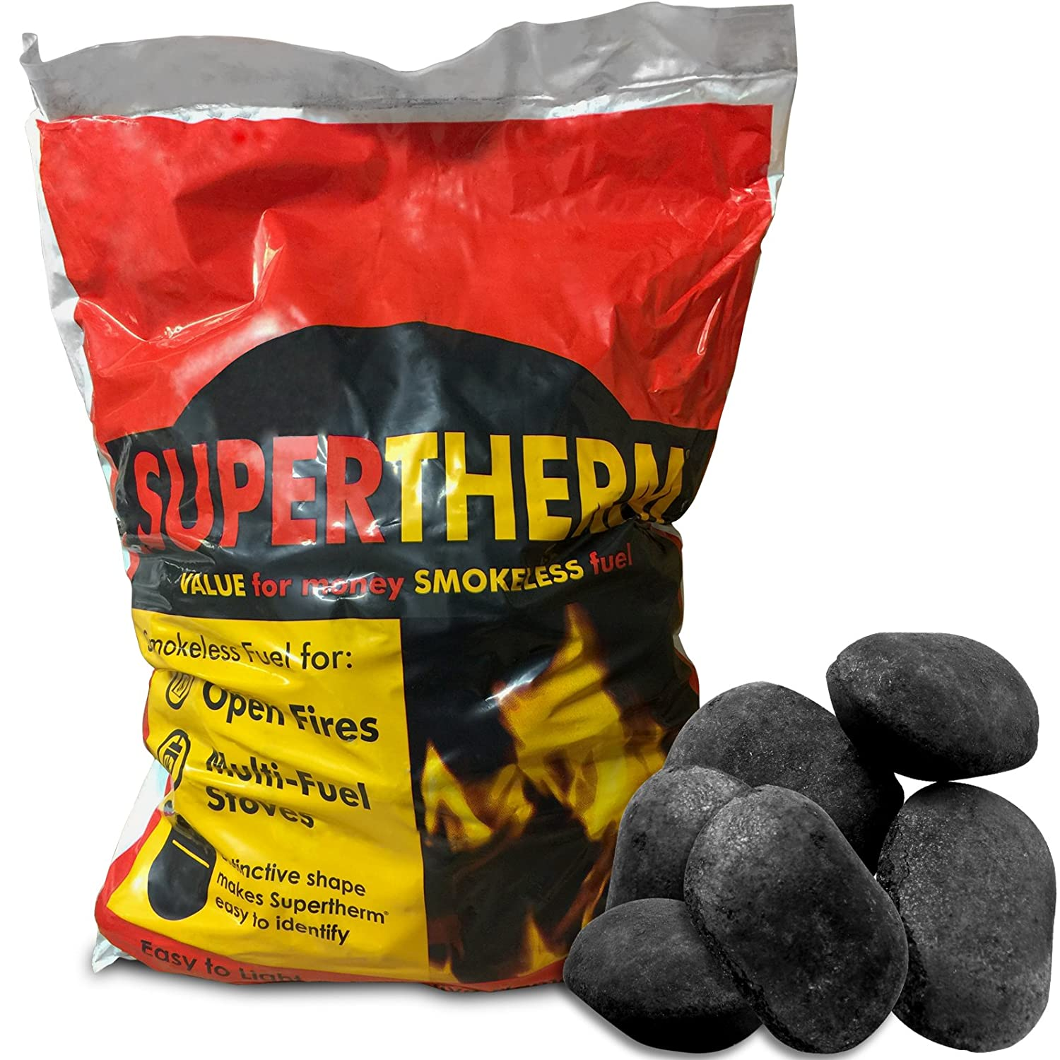 100kg of Supertherm Extra Hot Smokeless Coal Fire Fuel for Open Fires and Multi Fuel Log Burners & Tigerbox Safety Matches. Shop4accessories