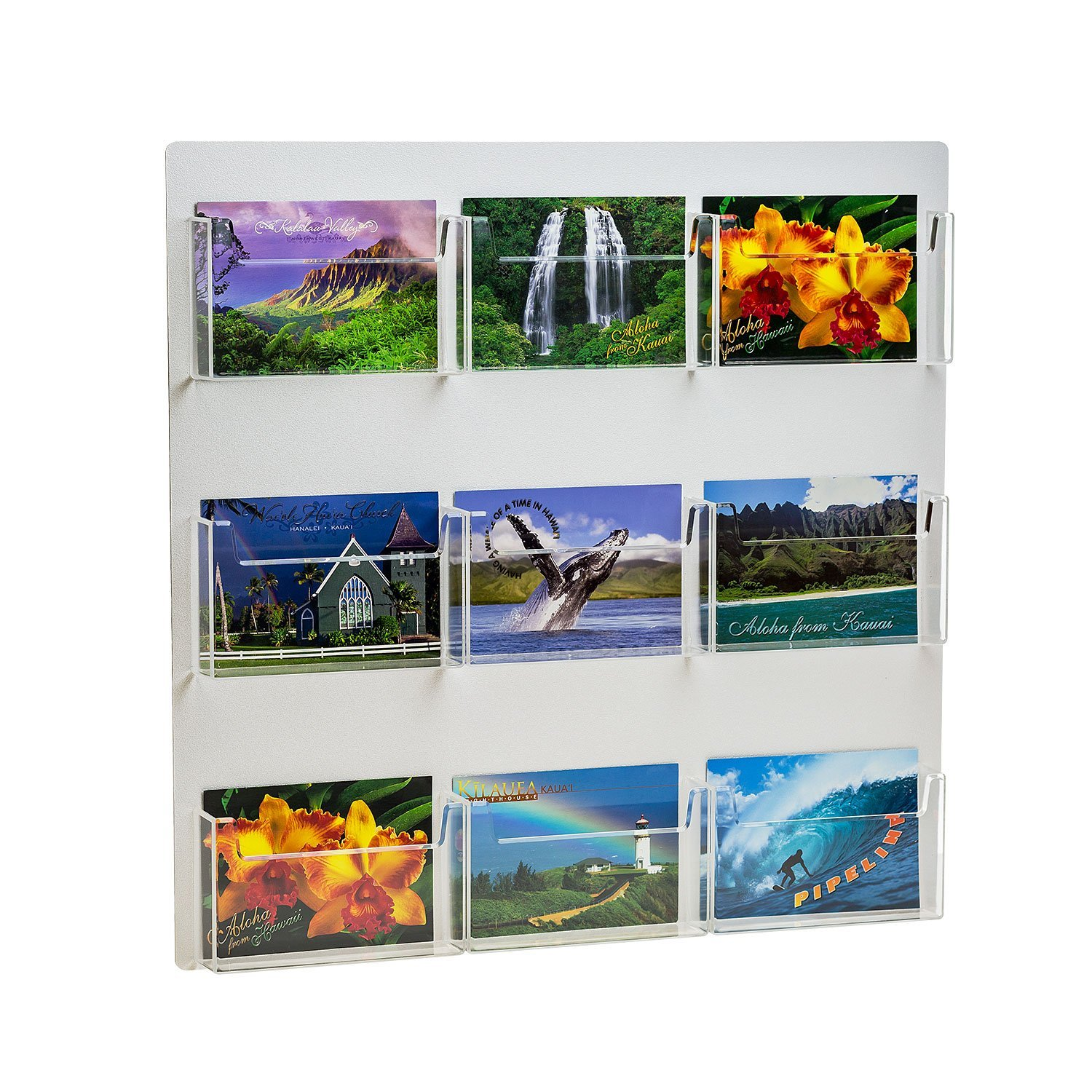 Source One Multiple Pocket Deluxe Clear Postcard Holder Display Wall Mount (1 Pack, 9 Pocket)