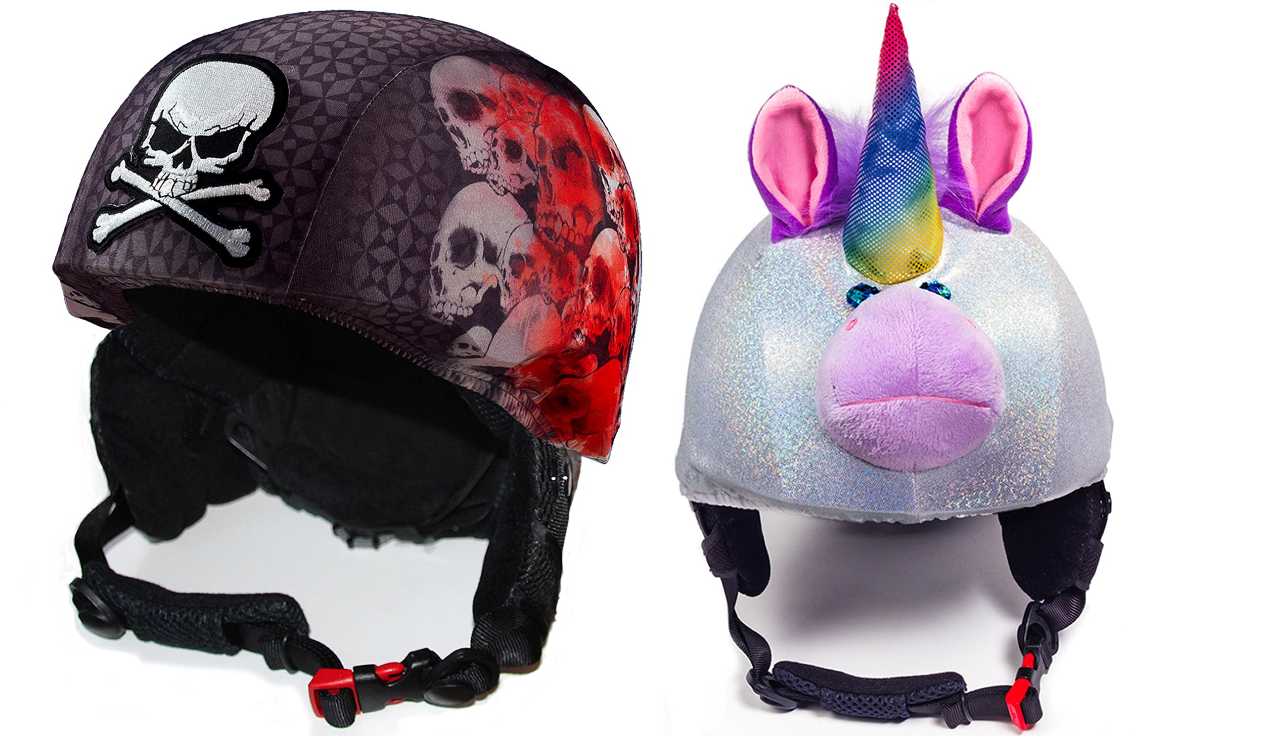 Fun Helmet Cover bundle Screaming Skulls And Sparky the Unicorn