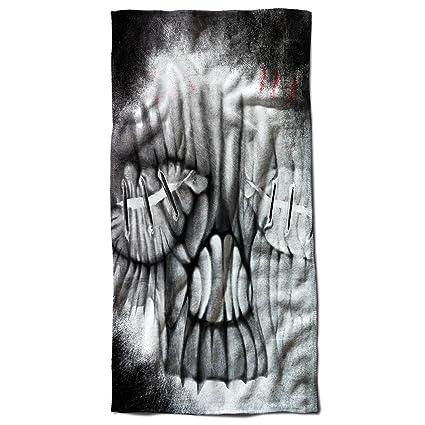 Stich Metal Roca Cráneo Terror toalla de playa | Wellcoda, microfibra, multicolor, 70cm