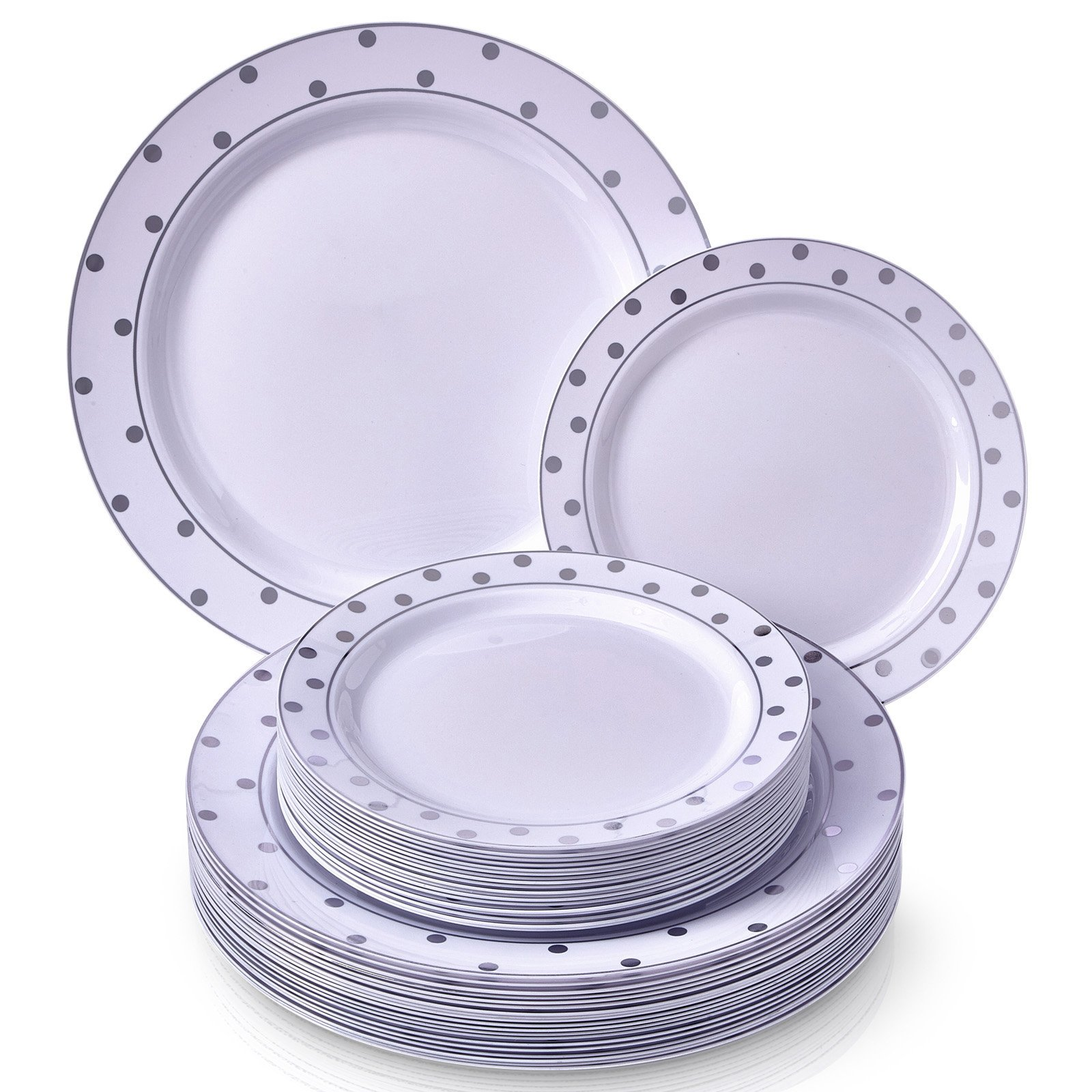 ELEGANT DISPOSABLE 240 PC DINNERWARE SET | 120 Dinner Plates and 120 Dessert Plates | Heavy Duty Disposable Plastic Dishes | Elegant Fine China Look | for Upscale Wedding and Dining (Charming Dots Col