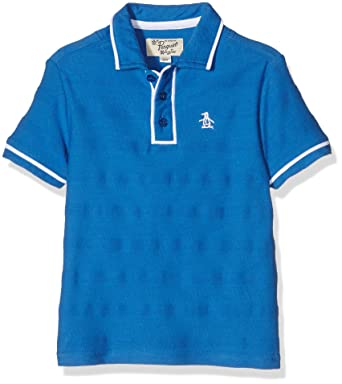 f2bccd21a Original Penguin Boy's Herringbone Stripe Earl Polo Shirt, (Strong Blue), 5-