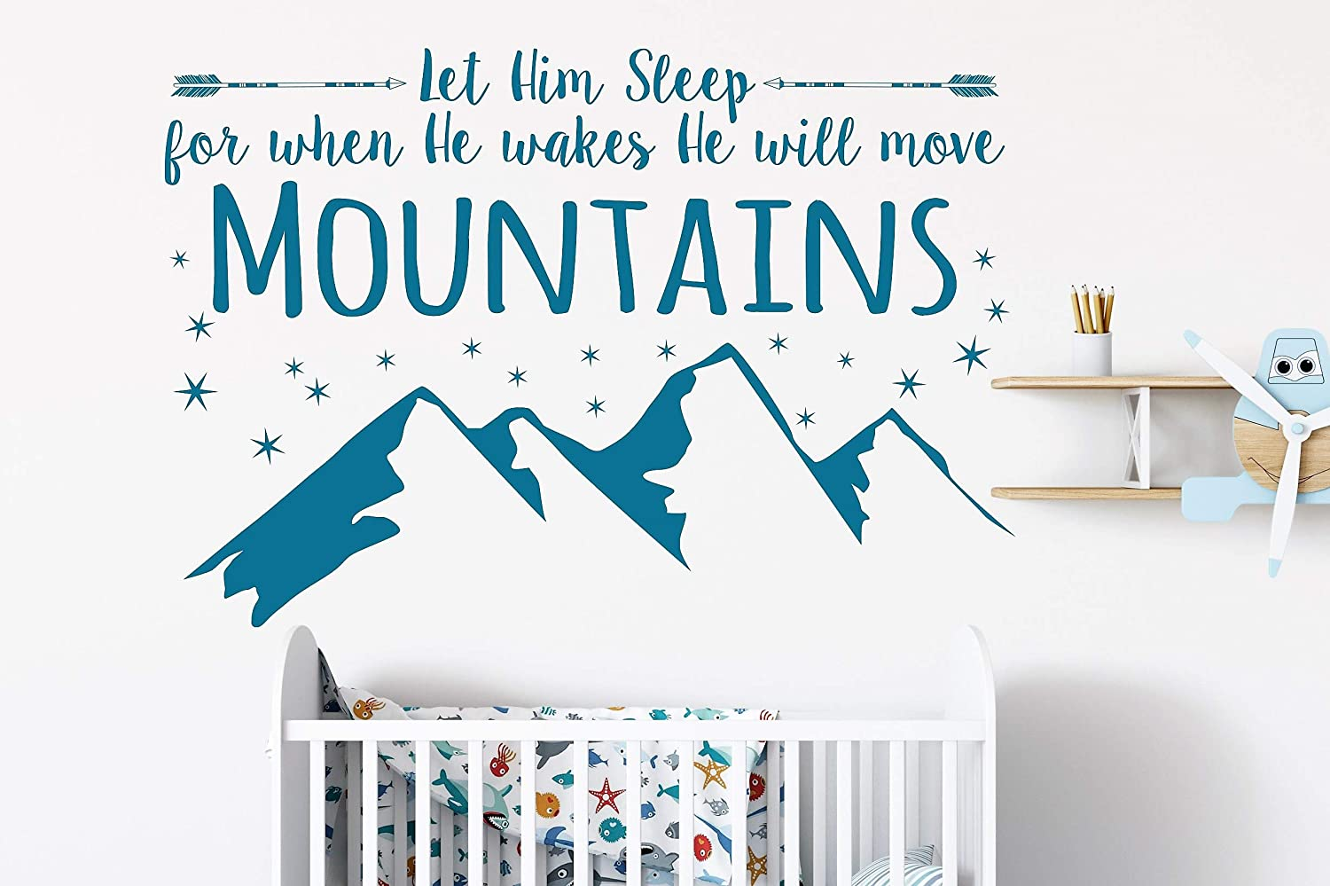 Amazon com let him sleep for when he wakes he will move mountains wall decal baby boy nursery decal boy wall sticker h22 x w 32 home kitchen
