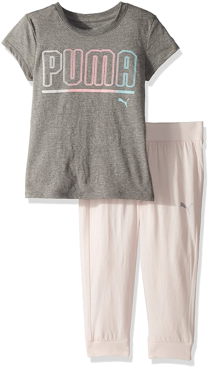 PUMA Girls' 2 Piece Tee & Capri Joggers Set