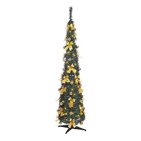 Tall Skinny Christmas Tree Silhouette.The Christmas Workshop 84710 6 Foot 6ft Decorated Slim Line Pop Up Christmas Tree Green With Gold Bows