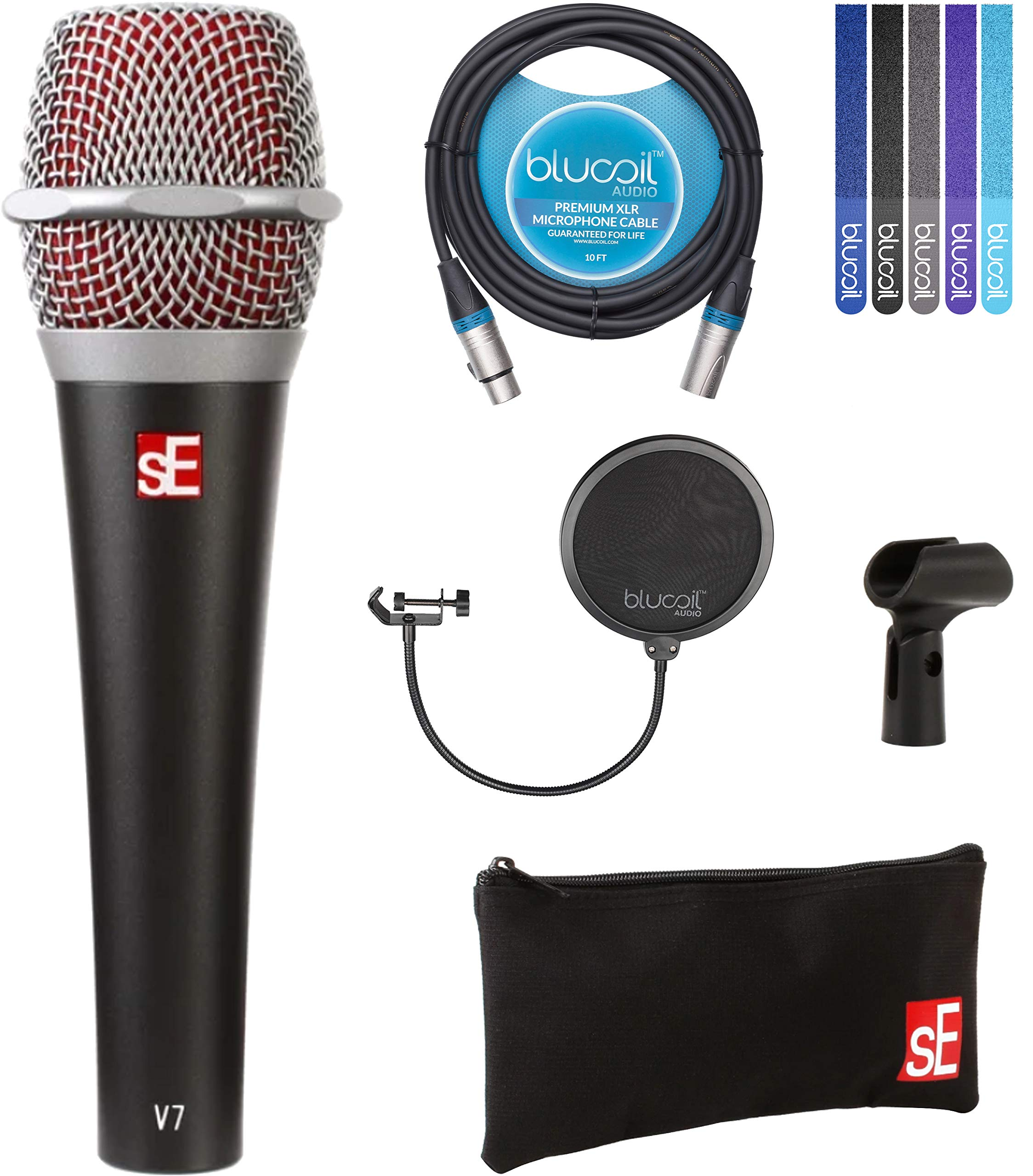 sE Electronics V7 Supercardioid Vocal Dynamic Handheld Microphone Bundle with Blucoil 10-FT Balanced XLR Cable, Pop Filter Windscreen, and 5-Pack of Reusable Velcro Cable Ties by Blucoil