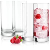 JoyJolt Stella Lead Free Crystal Highball Glasses Barware Collins Tumbler for Water...