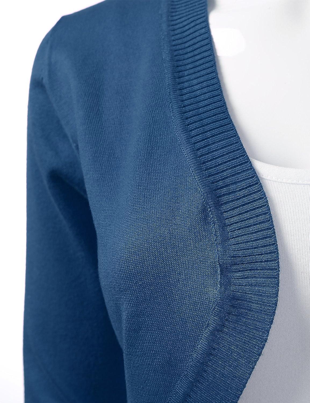 S-XL Womens Cropped Open Front Bolero Shrug Long Sleeve Knit Cardigan