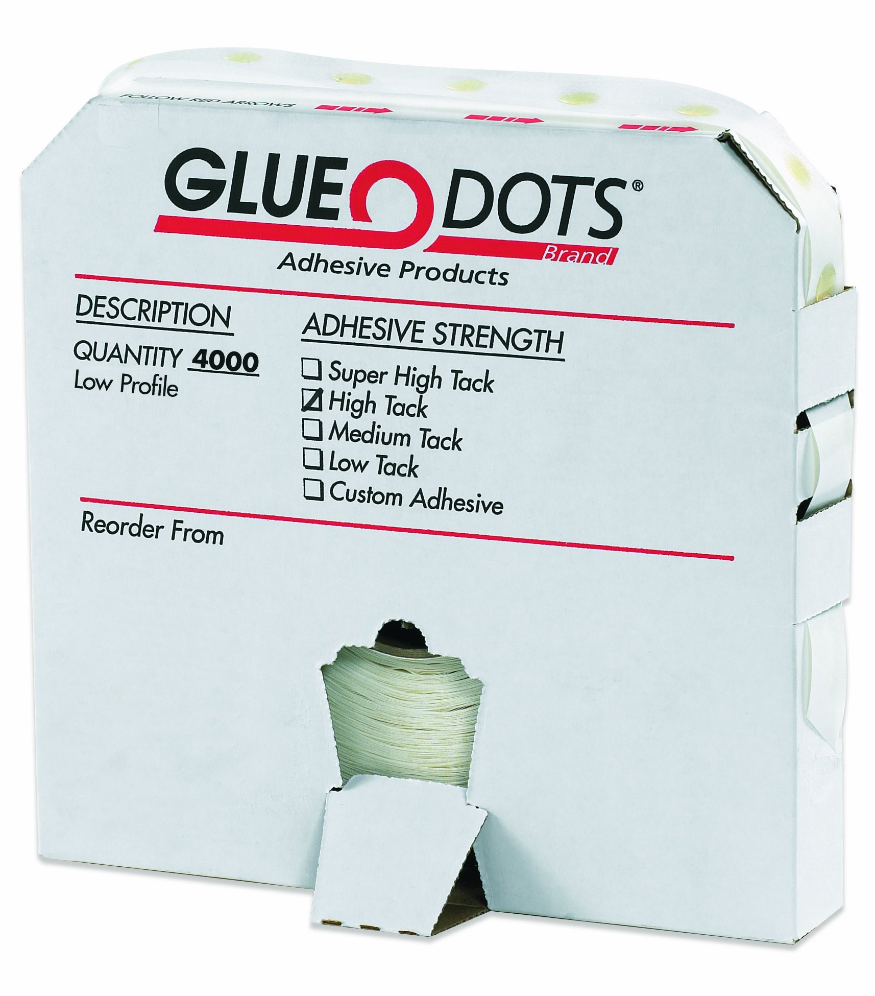 Glue Dot GD111 Low Profile High Tack Glue Dot, 1/4'' Diameter x 1/64'' Thick (Case of 4000) by Glue Dots