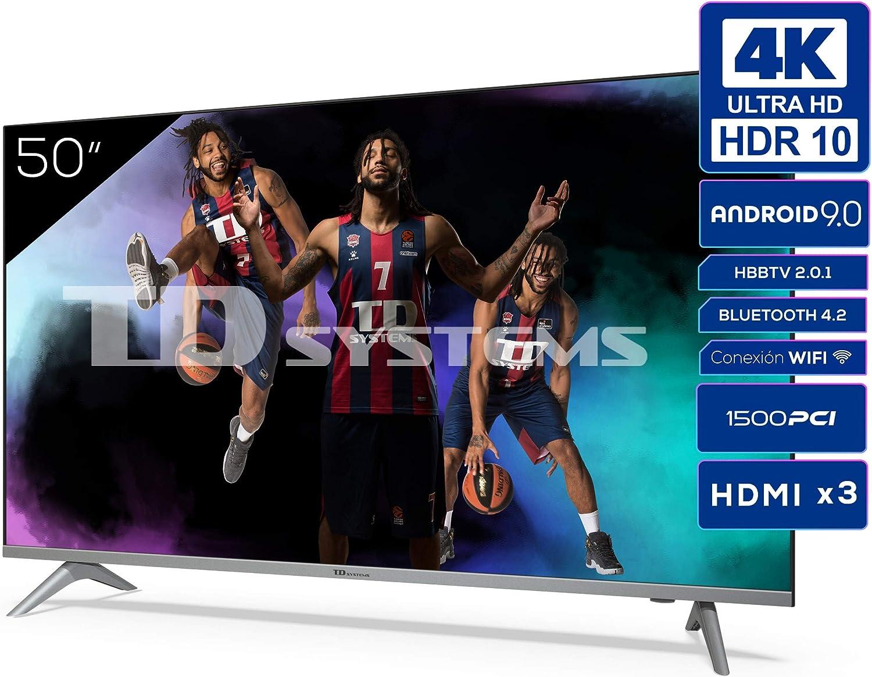 Televisiones Smart TV 50 Pulgadas 4k UHD Android 9.0 y HBBTV, 1500 PCI Hz, 3X HDMI, 2X USB. DVB-T2/C/S2, Modo Hotel - Televisores TD Systems K50DLJ12US