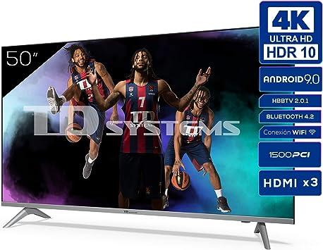 TD Systems K50DLJ12US - Televisores Smart TV 50 Pulgadas 4k UHD Android 9.0 y HBBTV, 1500 PCI Hz, 3X HDMI, 2X USB. DVB-T2/C/S2, Modo Hotel. ...