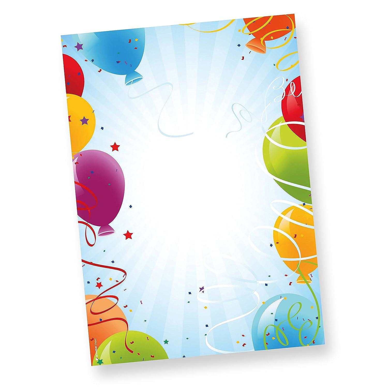 Motivpapier-Briefpapier f/ür den Geburtstag 50 Blatt DIN A4 90g bunt Motiv-Papier