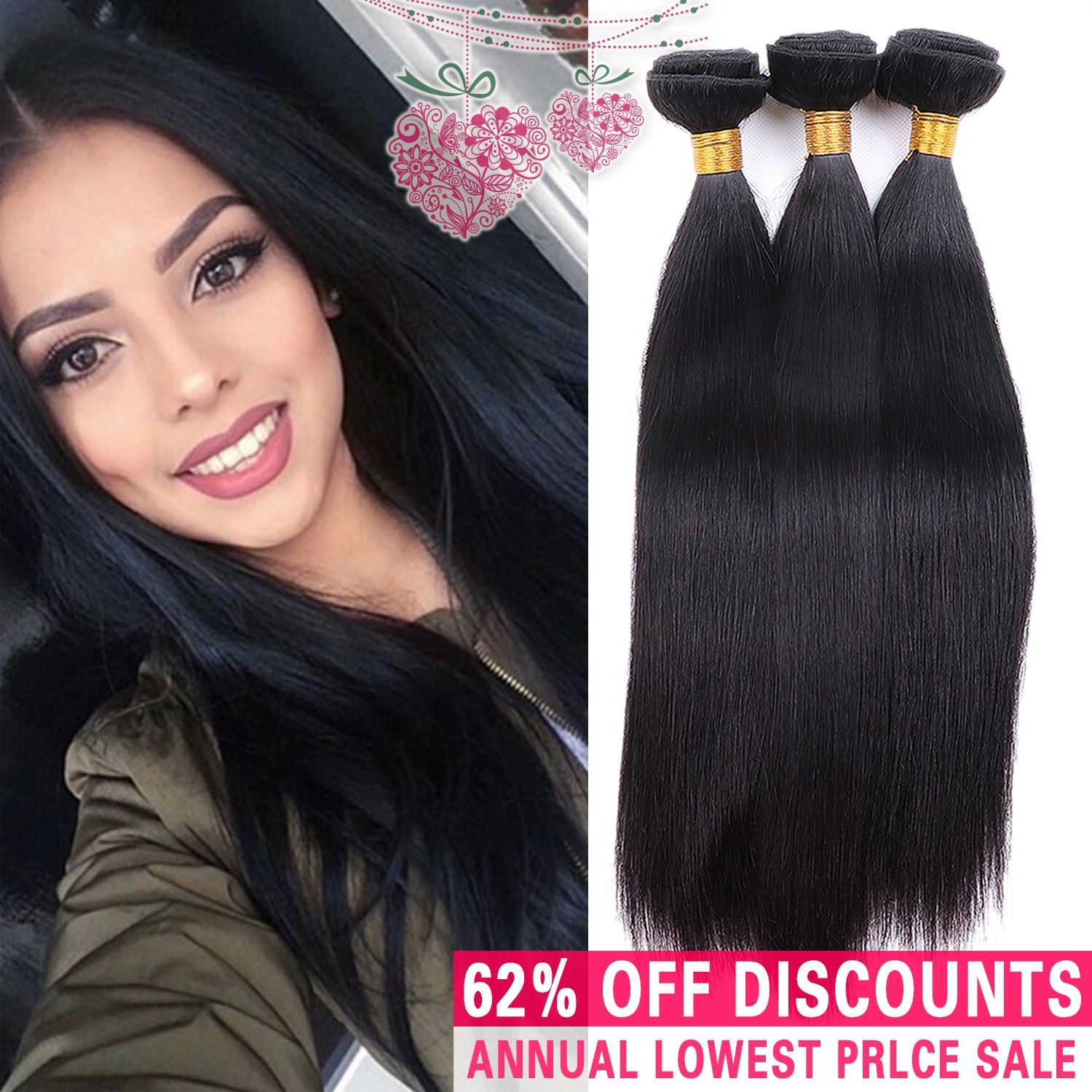 Amazon Unprocessed Virgin Brazilian Silky Straight Human Hair