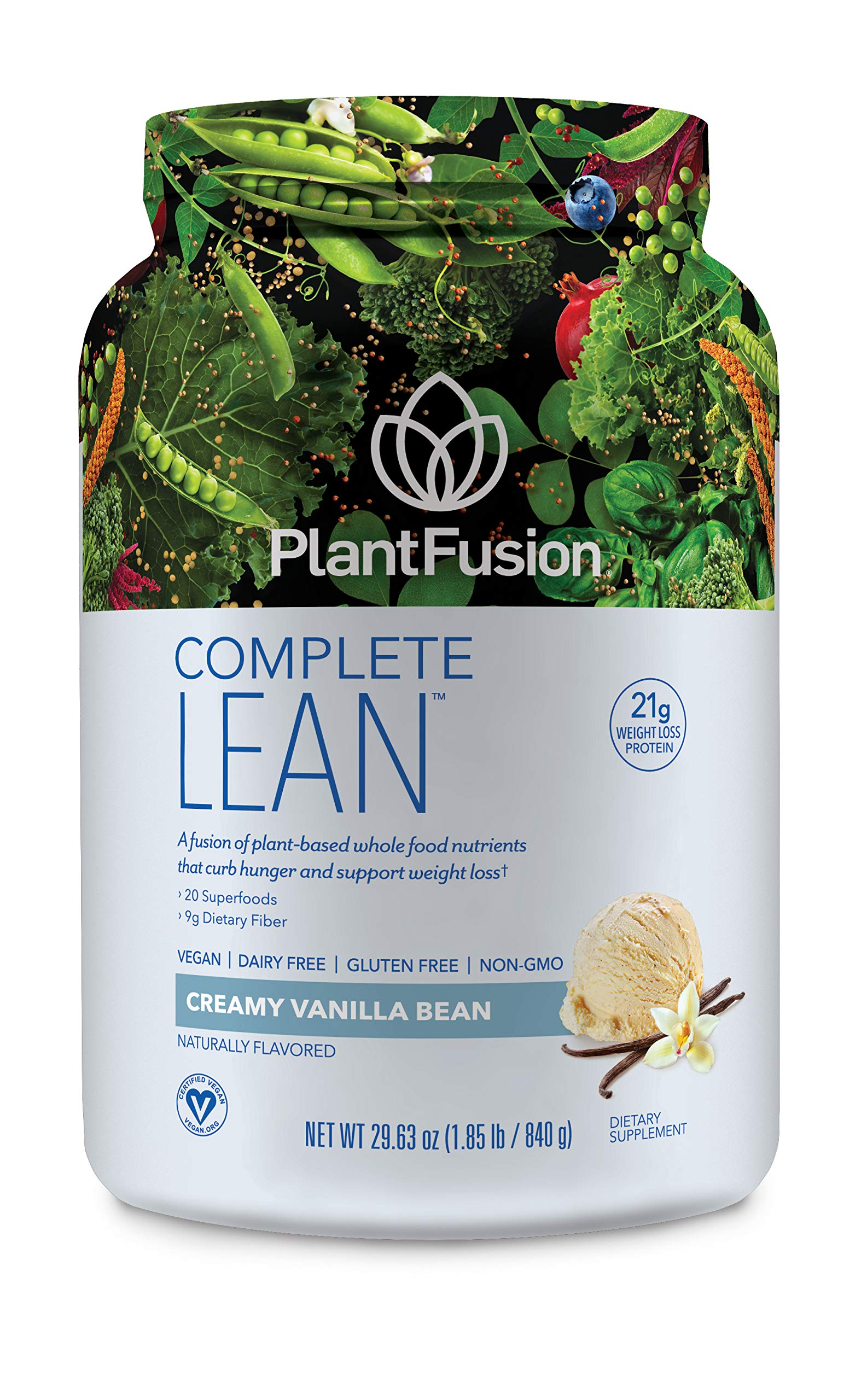 PlantFusion Complete Lean Plant Based Weight Loss Protein Powder, Creamy  Vanilla Bean, 29.06 oz