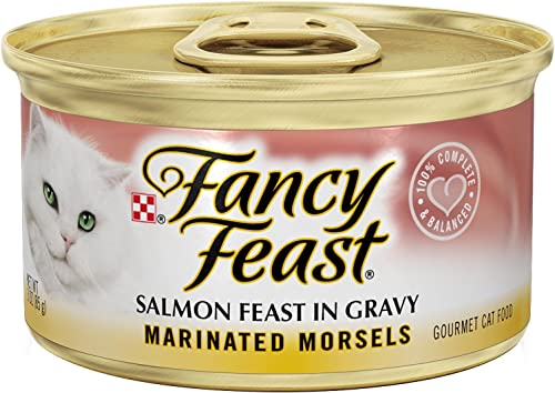 Fancy Feast Marinated Morsels Salmon Feast In Gravy Canned Cat Food 24 -3oz Cans