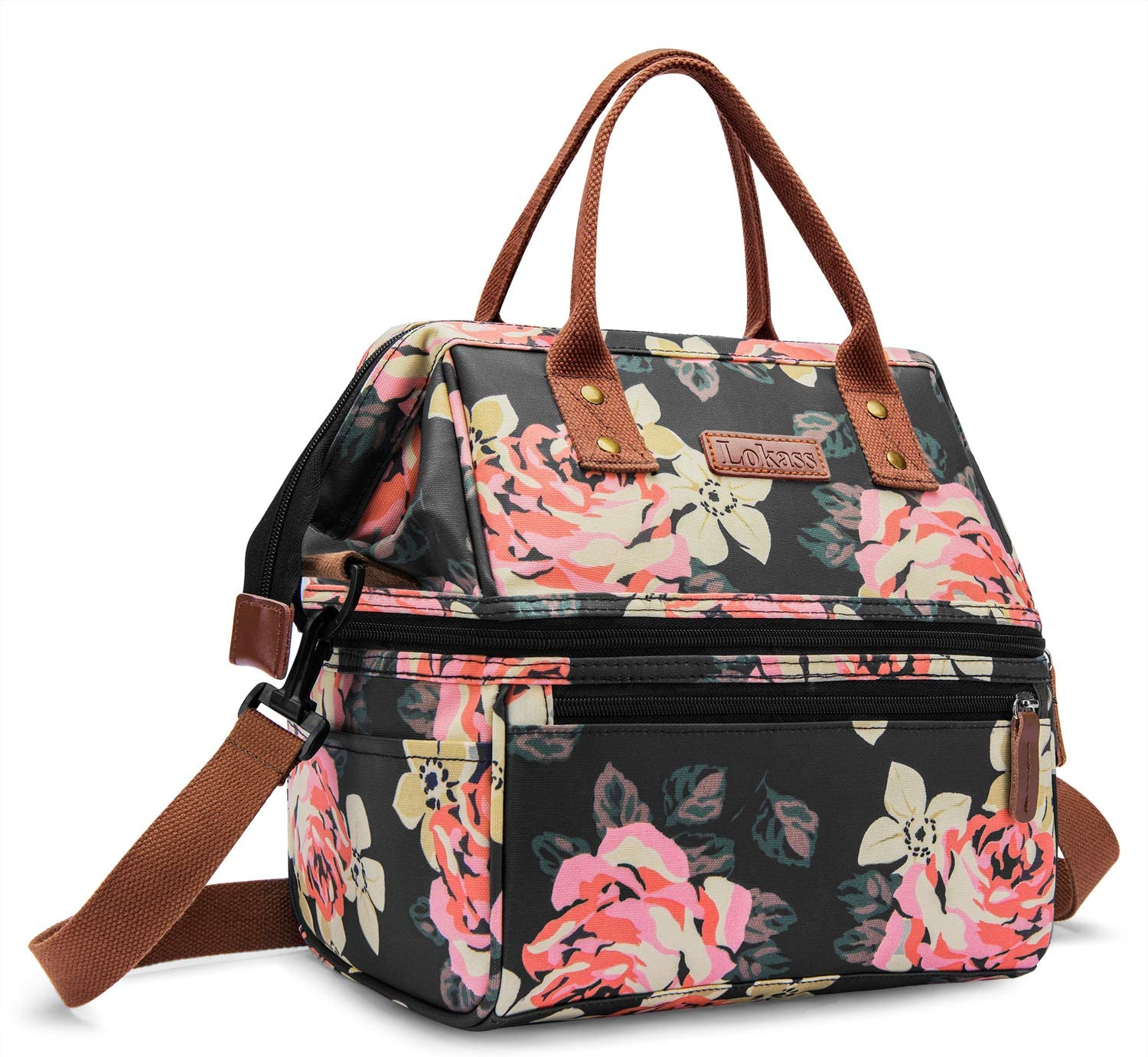 UTOTEBAG Double Deck Lunch Bag Insulated Lunch Box Large Cooler Bag Thermal Snack Organizer Leak Proof Drinks Holder with Shoulder Strap for Women Men, Peony