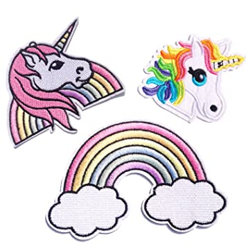 Unicornio Arco Iris Parches Ropa Termoadhesivos Bordados Cosido Para Niños