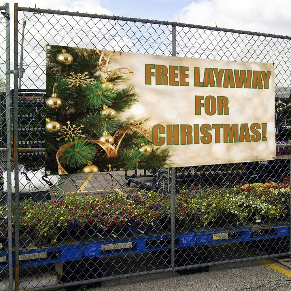Multiple Sizes Available Set of 2 28inx70in Vinyl Banner Sign Free Layaway for Christmas Outdoor Marketing Advertising Green 4 Grommets