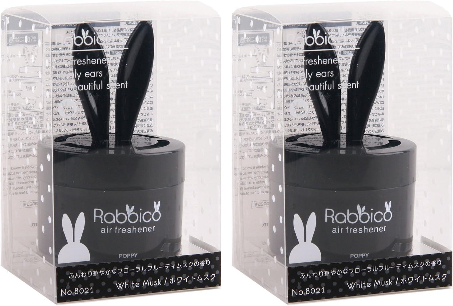 Diax RABBICO Poppy Rabbit Car/Home Air Freshener Japan 2 Packs White Musk Scent - Black