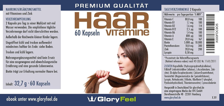 Vitaminas para el cabello + Biotina | CAMPEÓN DE LA PRUEBA 2017 en vergleich.org | Vitaminas concentradas para el cabello + Biotina, Zinc, Ácido pantoténico ...