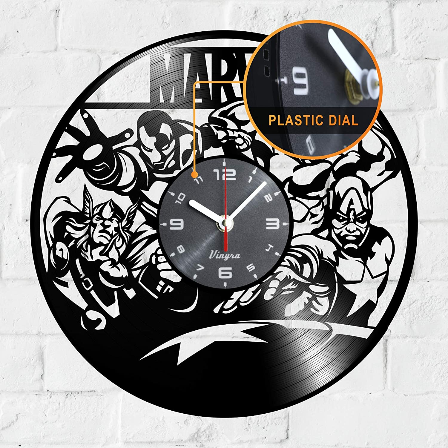 "Vinyra Vinyl Wall Clock compatible with Marvel Avengers Iron Man Captain America Thor Hulk Themed Home - Gift Set Idea for Adults, Men, Women, Kids Teens Room Wall Art Vintage Decor 12"" LP Clock Black"