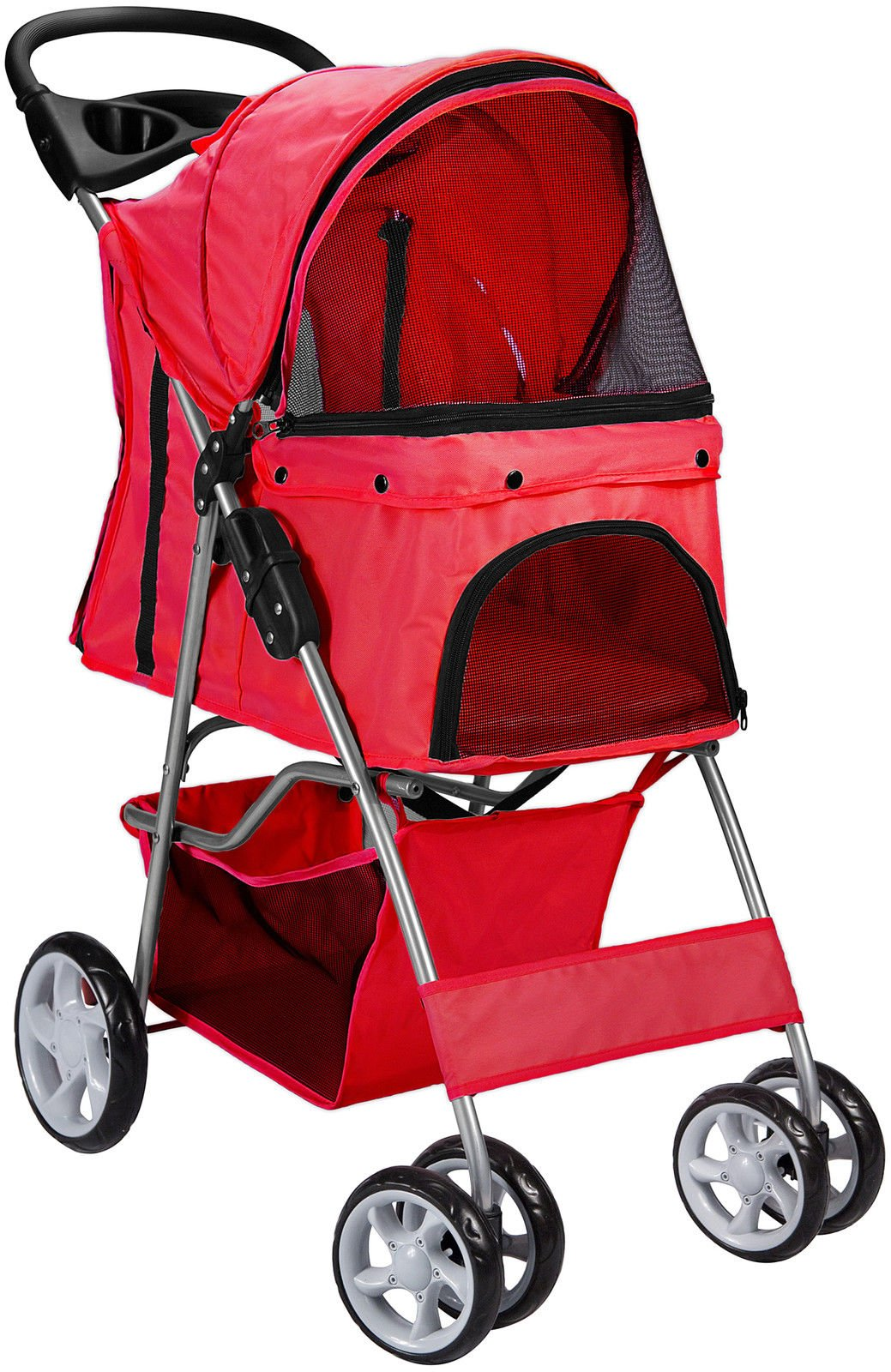 Pet Stroller Cat Dog 4 Wheeler Walk Stroller Travel Folding Carrier Red