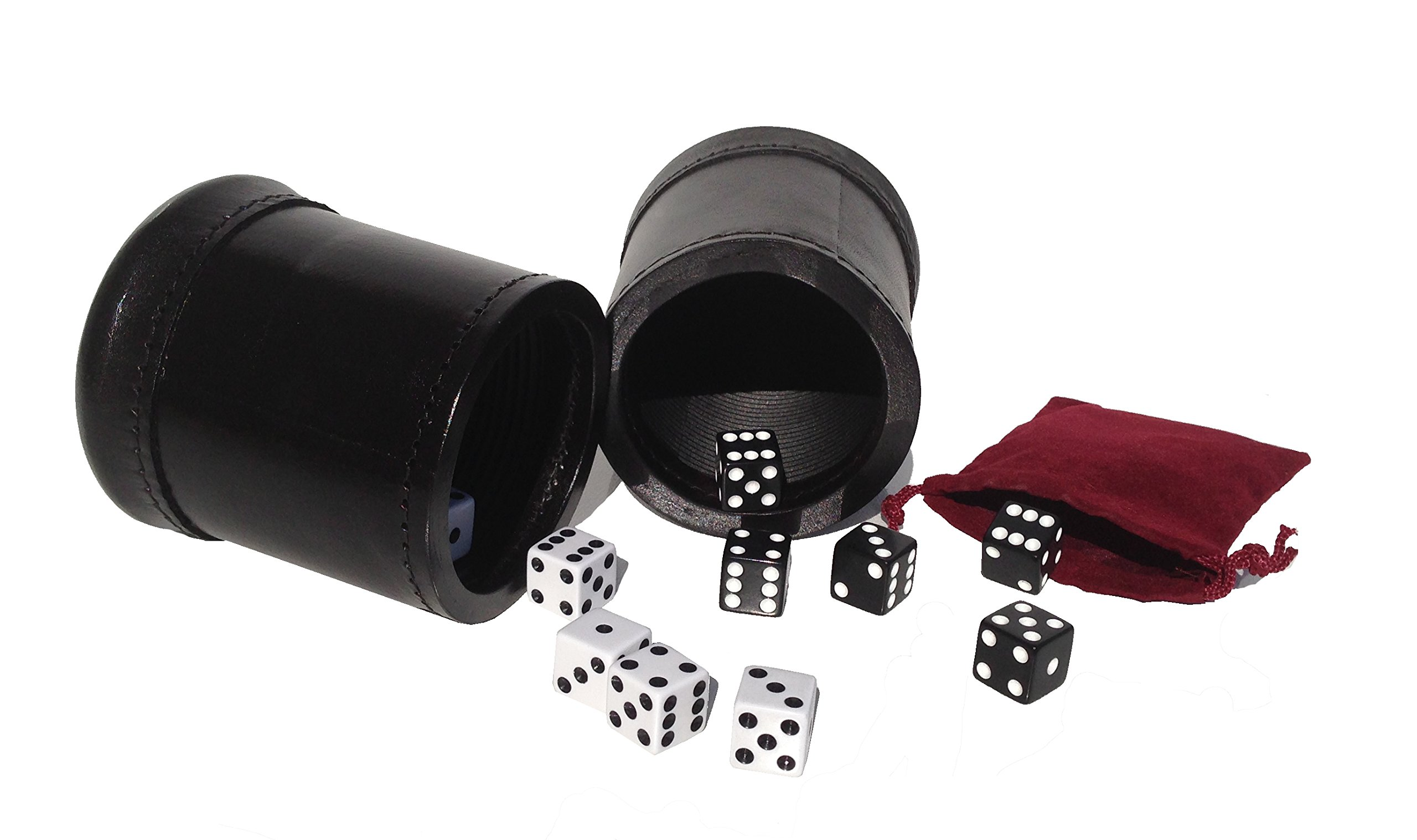 Golden Gate Dice Cup Set of 2 With 10 ''Tuxedo'' Dice, a Drawstring Pouch and a Book of Dice Games (Includes Liar's Dice)