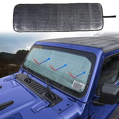 JeCar Windshield Sun Shade Foldable Sun Visor Aluminum Foil Sunshade Interior Accessories for 2020 2020 2020 Jeep Wrangler JL JLU: Automotive