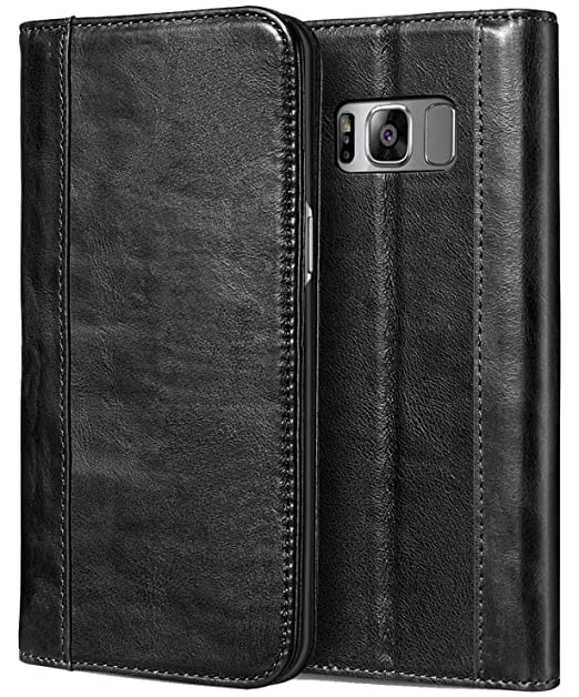 premium selection 325cc cc28e ProCase Galaxy S8 Plus Genuine Leather Case, Vintage Wallet Folding Flip  Case with Kickstand and Multiple Card Slots Magnetic Closure Protective  Cover ...