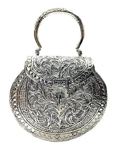 White Metal clutches Vintage Handmade Brass metal purse Hand clutch Bridal bags