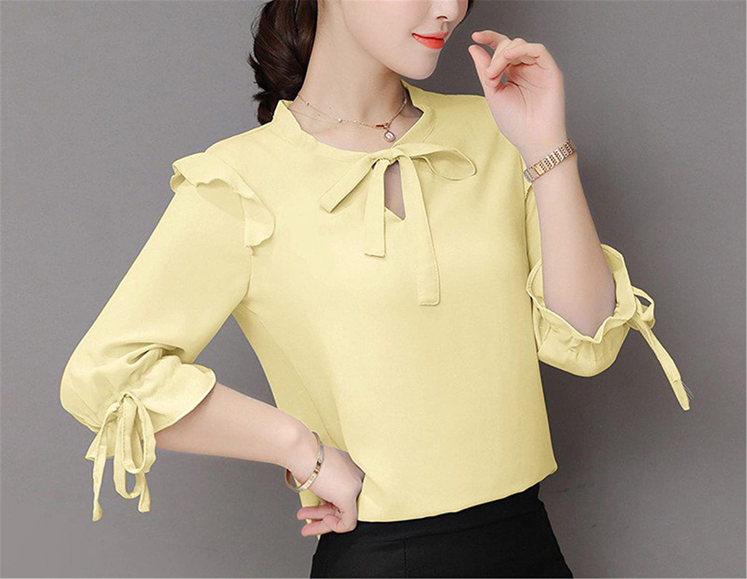 OUXIANGJU New Women Summer Chiffon Blouse Short Sleeve Office Shirts Female Ruffle Plus Size Tops at Amazon Womens Clothing store: