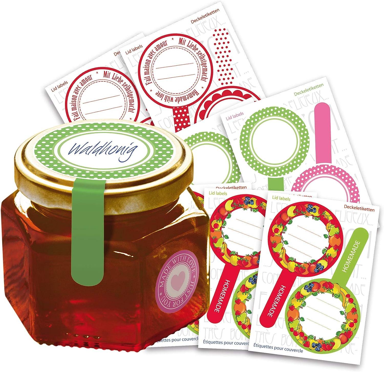 Marmelade Aufkleber selbstklebend beschriftbar Einmach Etiketten Rund Ø 62 mm