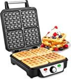Savisto Large Quad Waffle Maker   1100W Electric Belgian Waffle Iron with Temperature Control & Non-Stick Coating Cooking Plates - Cooks up to 4 Waffles