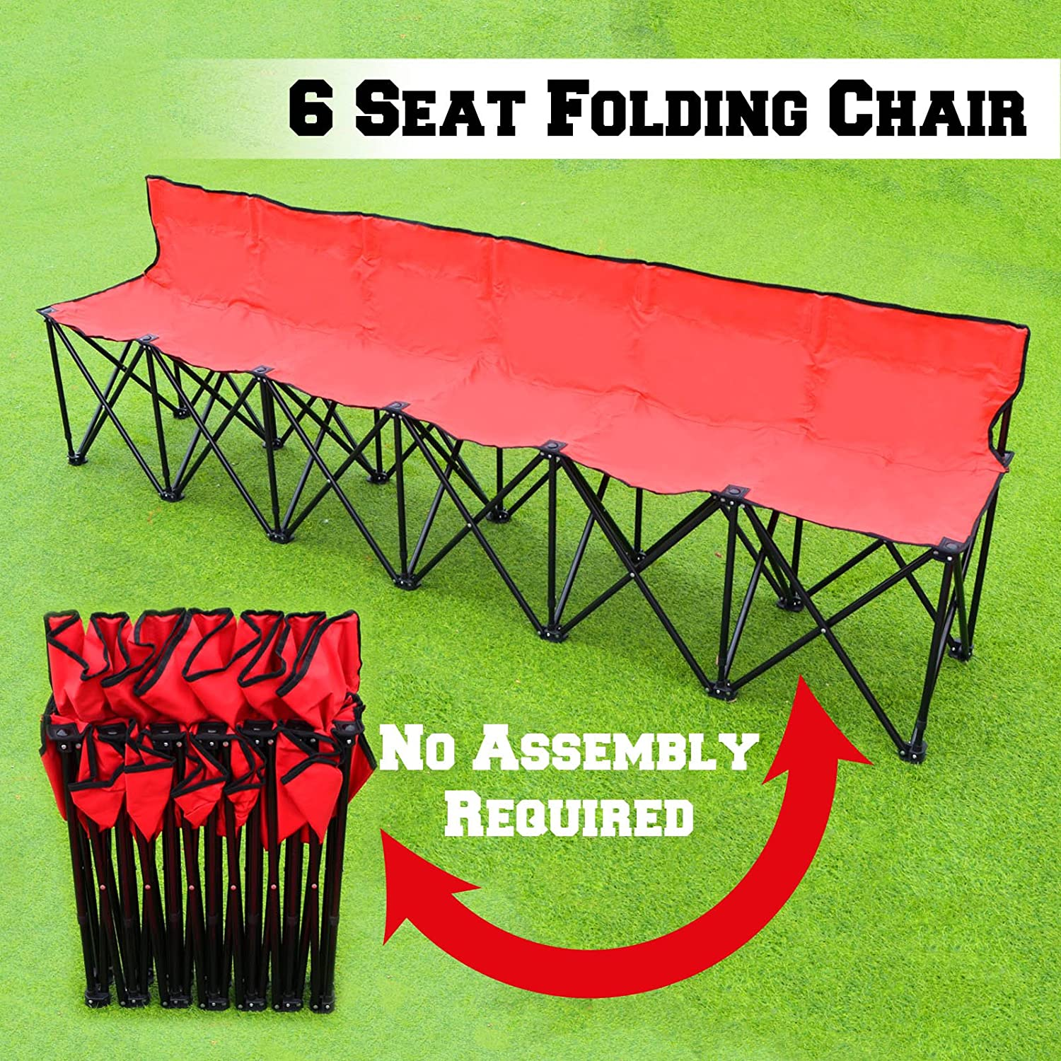 RED Folding Portable Team Sports Sideline Bench 6 Seater Outdoor Waterproof