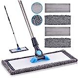 Microfiber Mop Hardwood Floor Mop - MANGOTIME Dust Wet Mop with 4 Washable Chenille & Microfiber Pads and Aluminum Plate, Flat Mop for Floor Cleaning Laminate Tile Vinyl Kitchen Home Mint