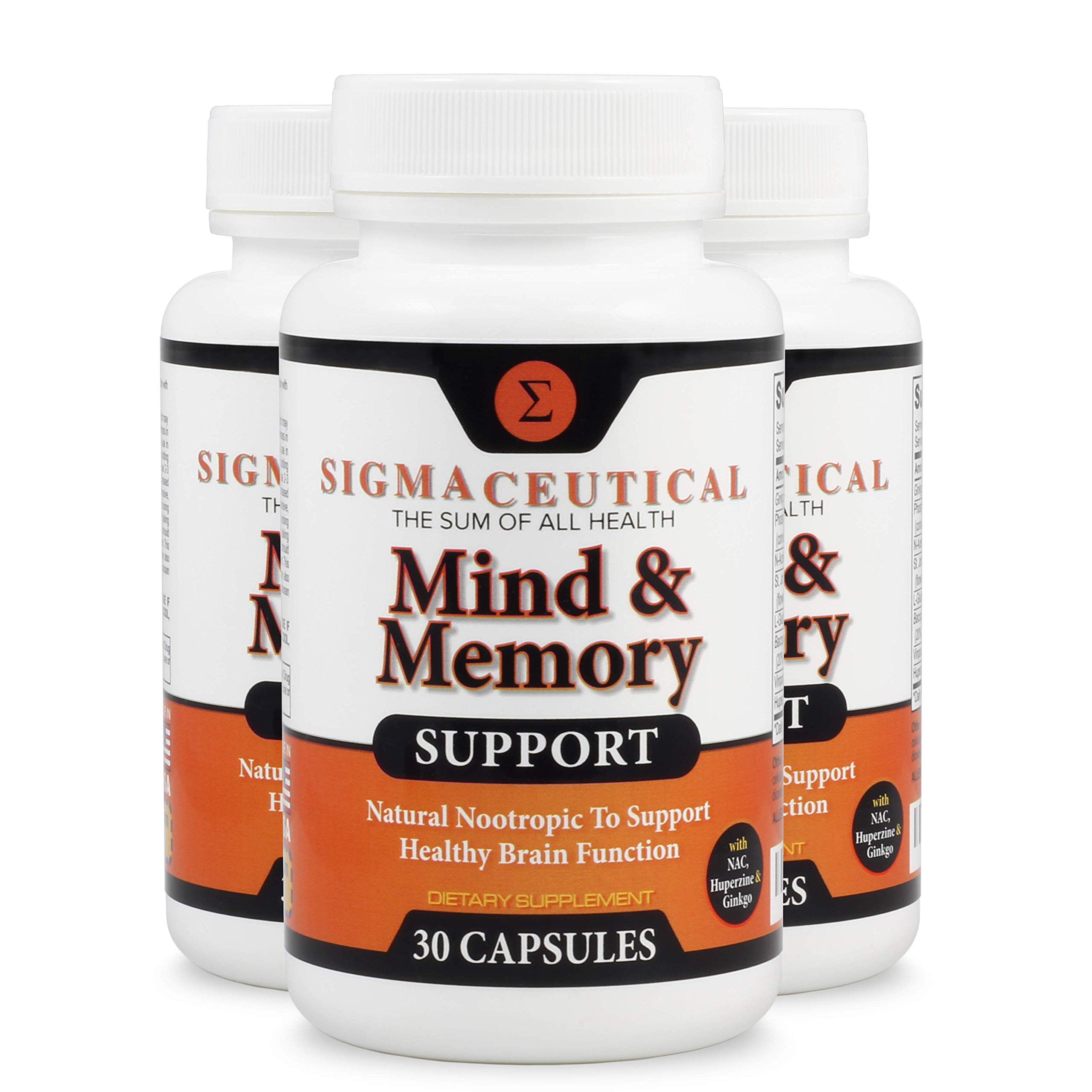 3 Pack of Memory Support Supplement and Brain Booster, Natural Nootropic Mental Focus - 30 Capsules Each