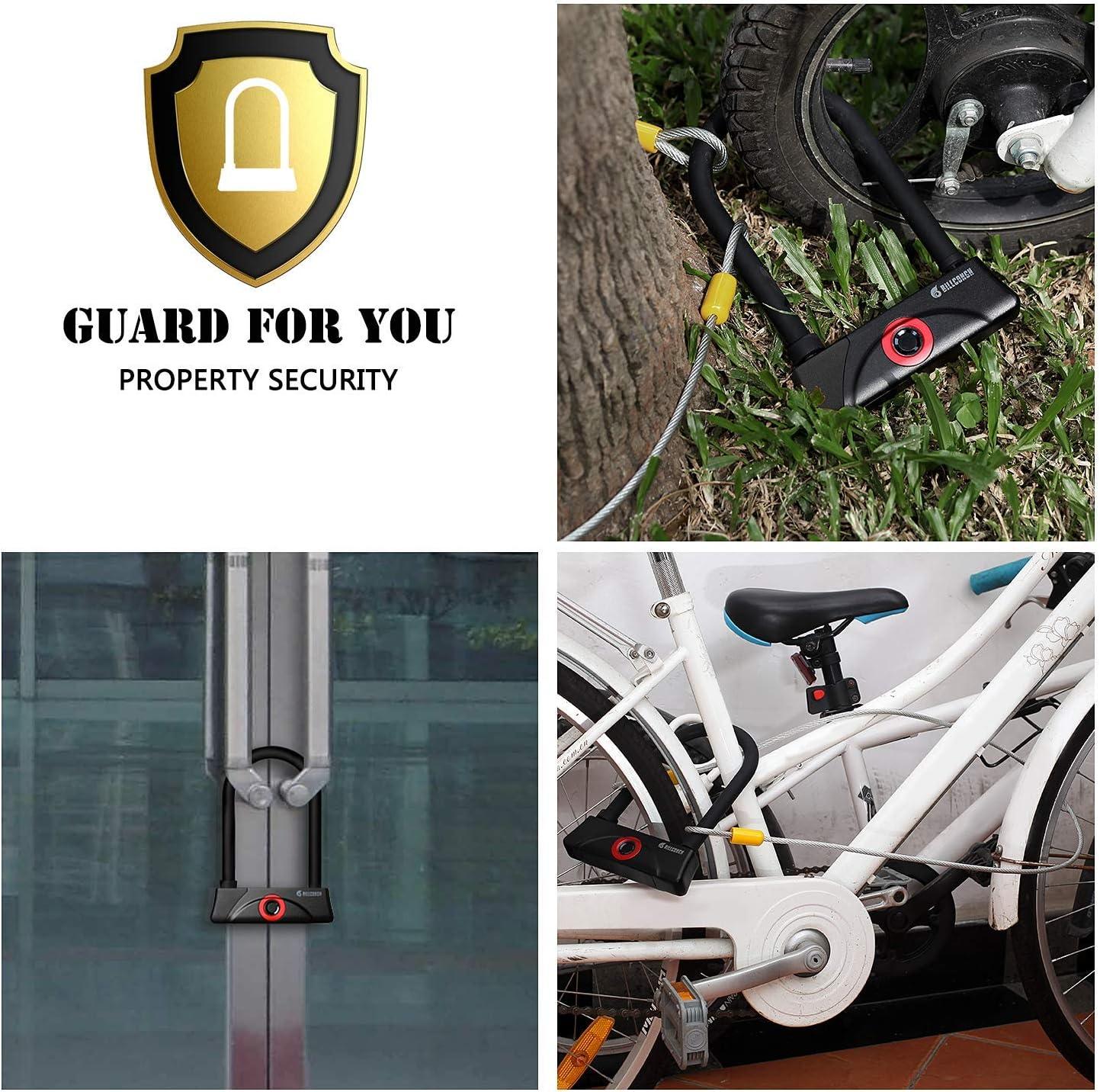 BILLCONCH Fingerprint Bike U Lock,Waterproof Bike U-Lock Gate Lock with Cable Duty U-Lock For Road Bike Mountain Bike Electric Bike Folding Bike USB Charging