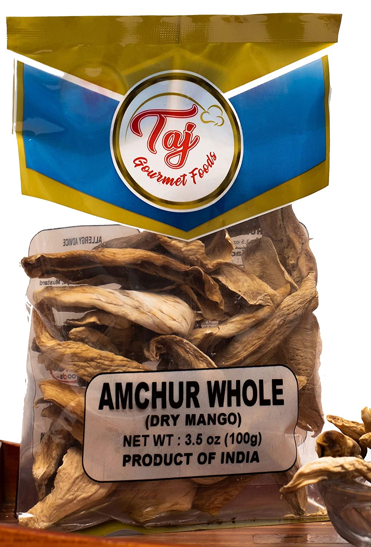TAJ Premium Indian Amchur Whole Slices, Dried Mango, 3.5 Ounce