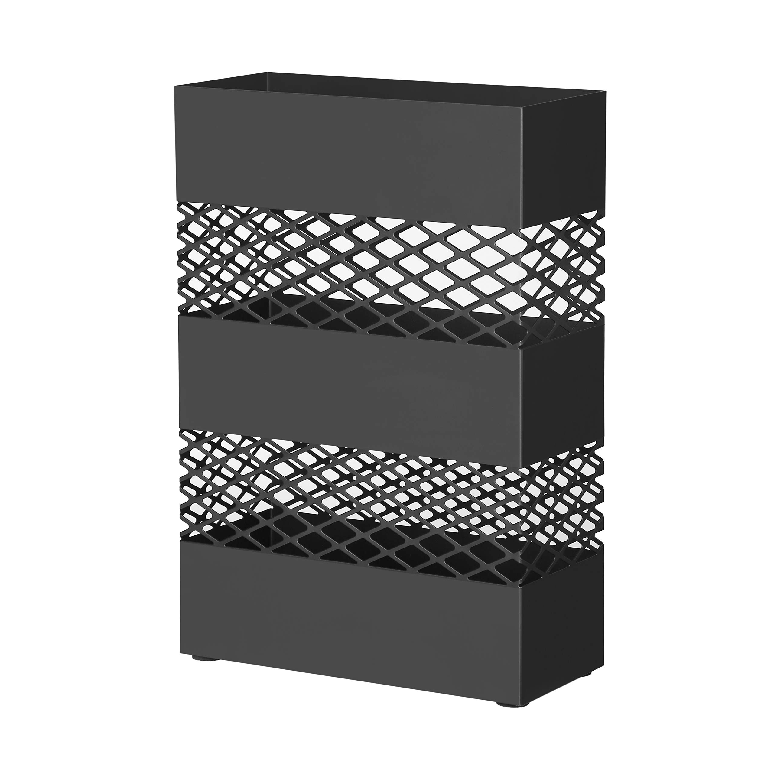 SONGMICS Metal Umbrella Stand, Rectangular Umbrella Holder Rack, with Removable Drip Tray, Lattice Cutouts, Black ULUC02BK by SONGMICS