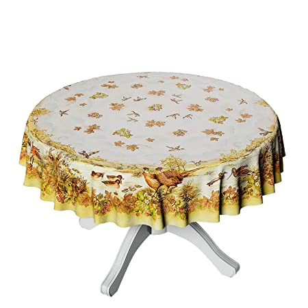 ANRO OILCLOTH Wipe Clean Tablecloth Oilcloth Tablecloth Round 150 Cm, Wax  Cloth, Jäger Wald, Jäger Wald
