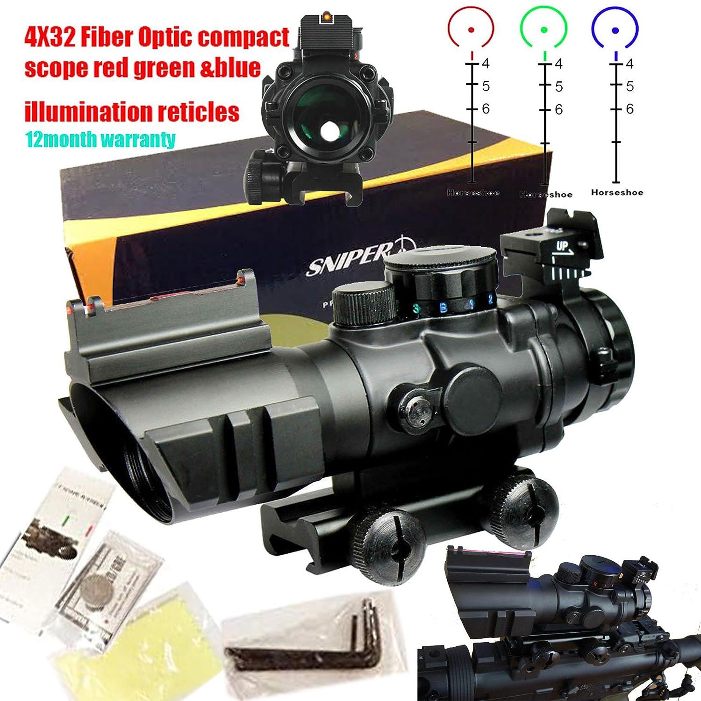 Sniper Tactical 4x32 Prismatic Glass Crosshair Reticle Scope w/ Fiber Optic Sight Ledsniper®(us seller) PM4X32CB