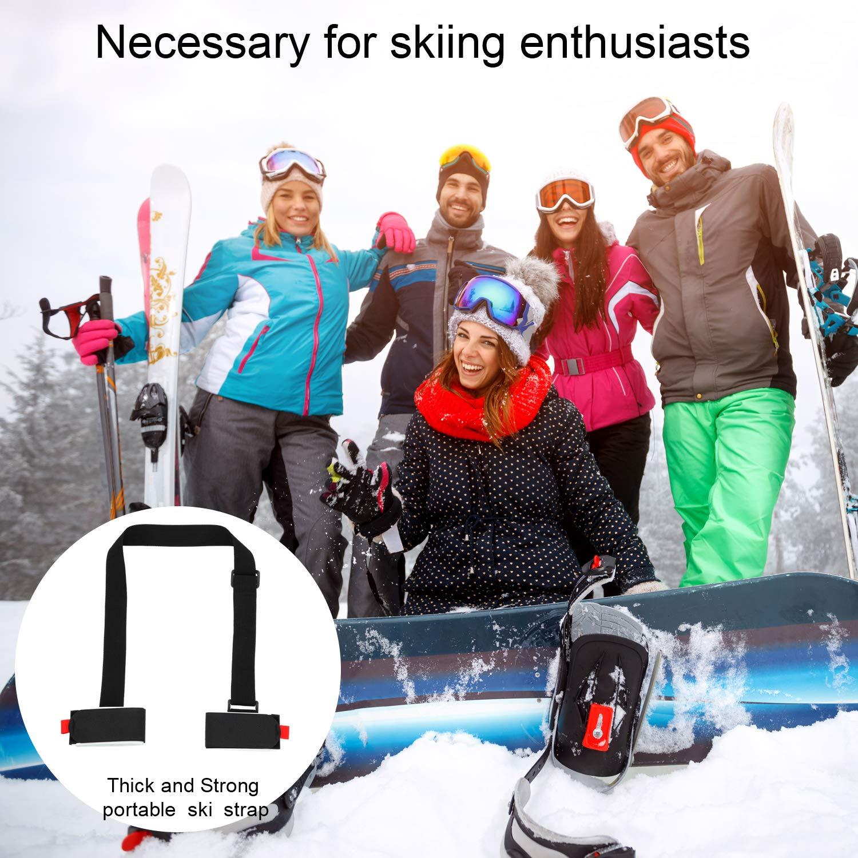 4 Paquets Sangles de Ski /Épaisses et Robustes Sangle Porte-Ski Noir Porte-/Épaules Ajustable Ski Bandouli/ère de Ski avec Boucle de Sangle de Bande de Fixation Coussin/ée pour Adultes Enfants