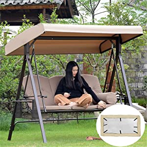 Replacement Canopy for Swing Seat 3 Seater Sizes Garden Hammock Cover, 210D Oxford Cloth Patio Swing Canopy Replacement Top Cover with 8 Reinforced Corner Pockets - UV Protection (Beige)