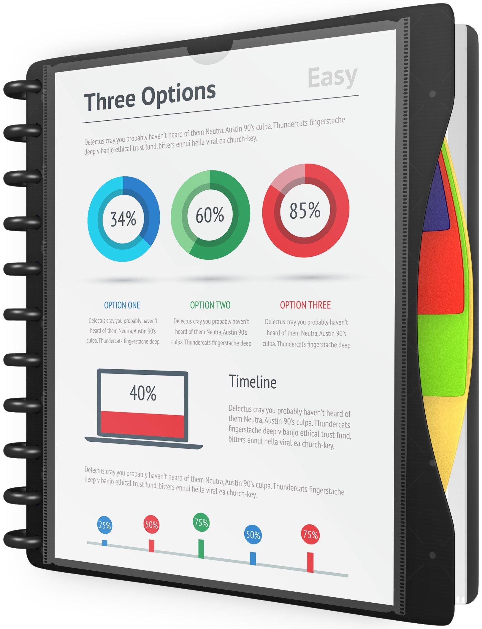 IQ iScholar Poly Ring Presentation Book, 10 x 11.5'', Black or White (30525)