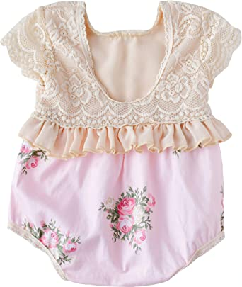 Newborn Baby Girls Romper Flying Sleeve Floral Bodysuit Outfit Sunsuit Clothes