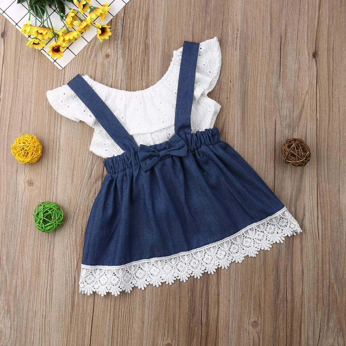 Toddler Newborn Kid Baby Girl Summer 2Pcs Clothing Set Off Shoulder T Shirt Lace Denim Overalls Skirt Outfits Clothes