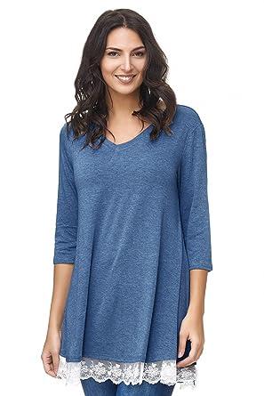 4e827176689a1c Damen Bluse Tunika 3 Varianten V-Ausschnitt Spitze Taschen Casual Sale  Saison 2018  Amazon.de  Bekleidung
