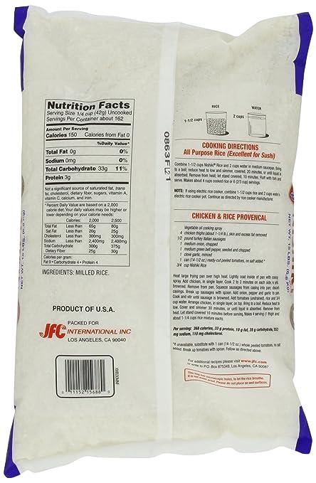 Nishiki Premium Arroz grano medio, bolsa de 15 libras ...