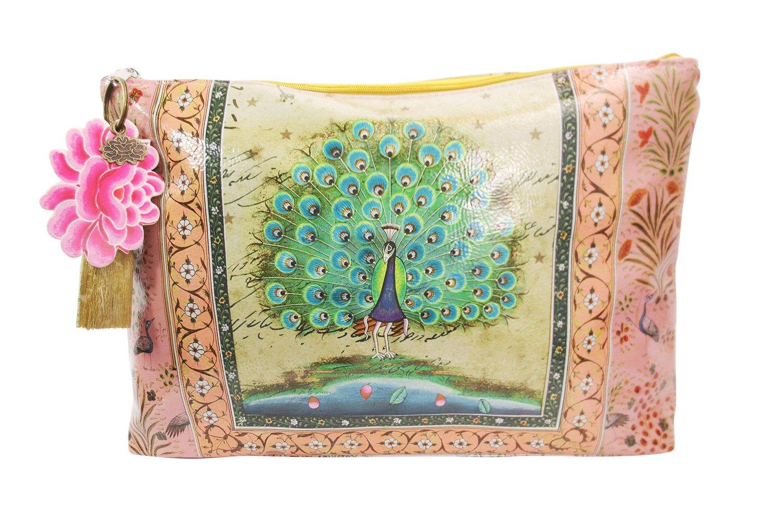 Vintage Design Peacock Love Graphic Art Design Oil Cloth Large Make-up or Accessory Travel Bag