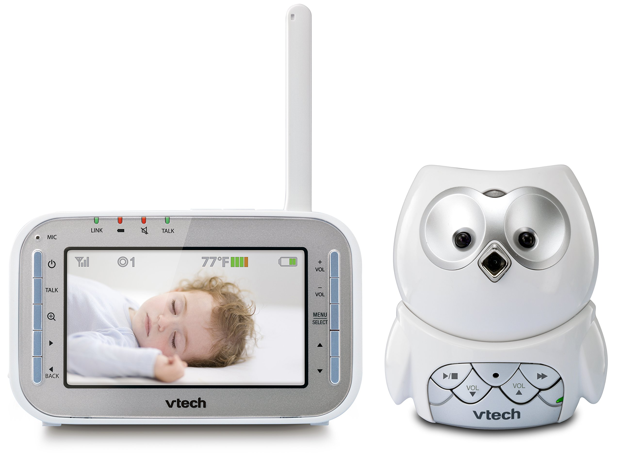 VTech VM345 Owl Video Baby Monitor with Automatic Infrared Night Vision, Split-Screen Viewing, Soothing Sounds & Lullabies, Temperature Sensor & 1,000 feet of Range
